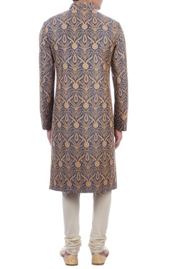 blue & cream thread embroidered sherwani