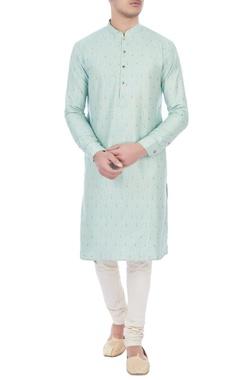 turquoise lotus printed cotton brocade kurta