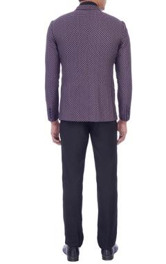 purple jacquard tuxedo jacket
