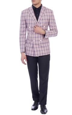 purple & blue check double breasted blazer