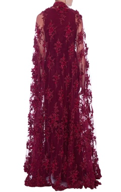 wine solid maxi dress with cape
