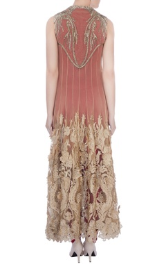 wine pleated jumpsuit with beige embroidered cape