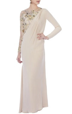 beige embroidered sari gown