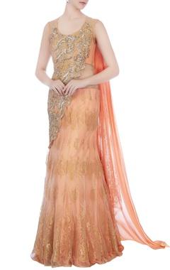 peach embellished lehenga