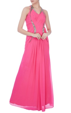 pink embellished pleated gown