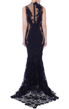 navy blue self patter gown