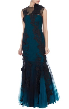 navy blue embellished gown