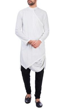 Sadan Pande - Men White modal cotton draped kurta