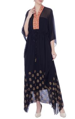 black georgette zardozi kaftan with crepe slip fabric