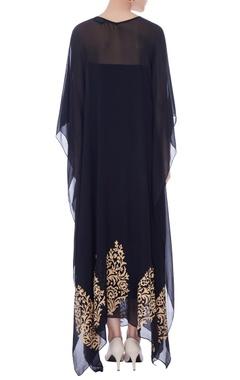 black kaftan with phullkari border & slip fabric