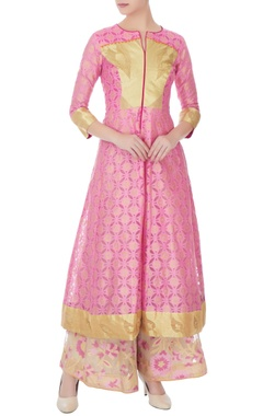 pink banarasi net kurta with sharara set