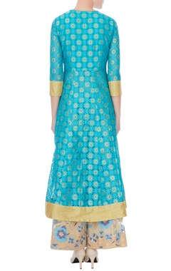 blue banarasi net kurta with sharara set