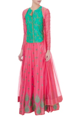 pink & aqua green chanderi embroidery jacket lehenga