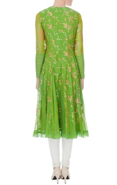 green chanderi embroidered kurta with beige embroidered dupatta