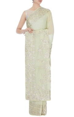 light green gota sari with unstitched blouse