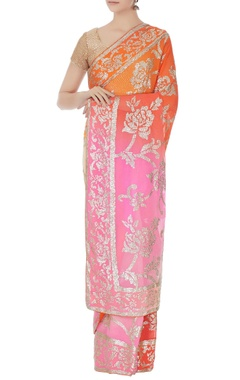 pink & orange ombre sequin embroidered sari with unstitched blouse