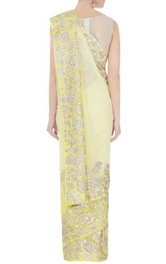 lemon ombre sequin embroidered sari with unstitched blouse