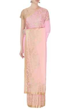 peach & pink ombre shaded sari with unstitched blouse