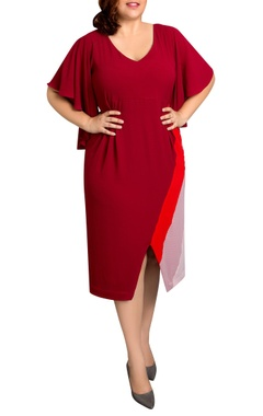 red textured poly georgette striped midi dress