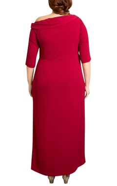 red textured poly georgette color-blocked maxi dress