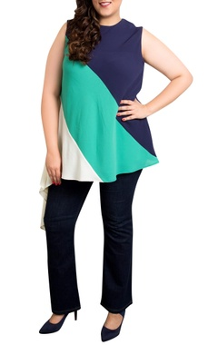 navy blue textured poly georgette striped blouse