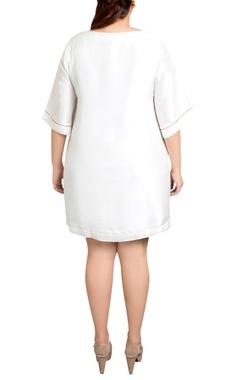 white dupion silk graphic print shift dress