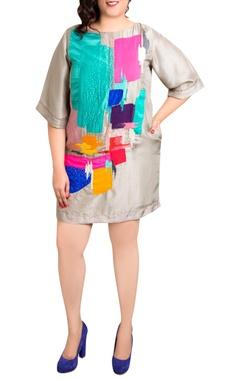 grey dupion silk graphic print shift dress