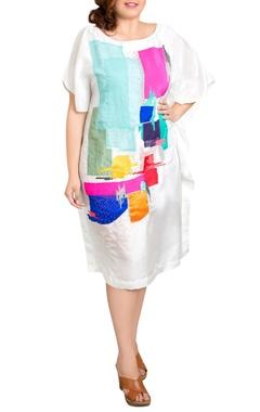 white dupion silk graphic print kaftan dress