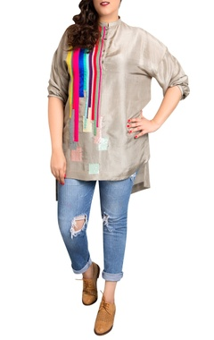 grey dupion silk striped print blouse