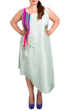 mint green dupion silk striped drape asymmetric dress