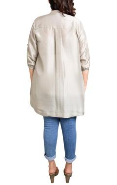 grey dupion silk tile print shirt