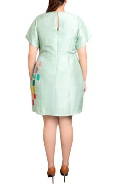 mint green dupion silk tile print shift dress