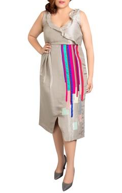 grey dupion silk striped overlap dress