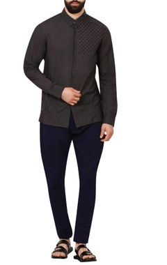 Rajesh Pratap Singh - Men Charcoal grey poplin shirt with embroidered details
