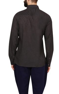Charcoal grey poplin shirt with embroidered details