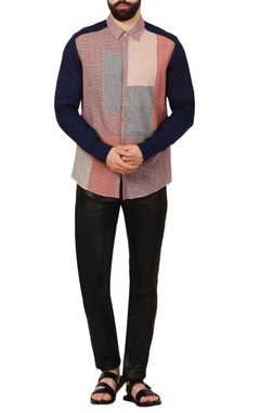 multicolored patchwork handloom shirt