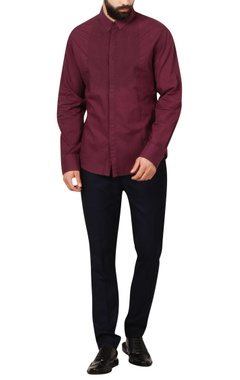 wine patchwork mosaic formal shirt