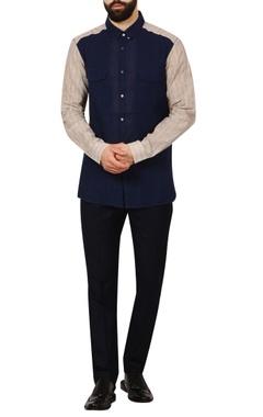 blue button-down check handloom cotton shirt