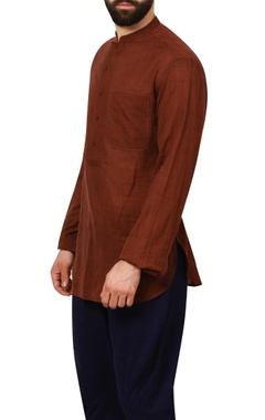 burnt red textured cotton formal shirt