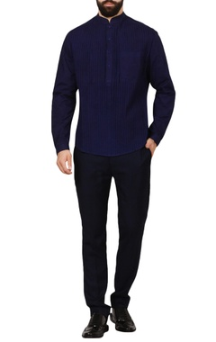 blue pleated texture poplin shirt