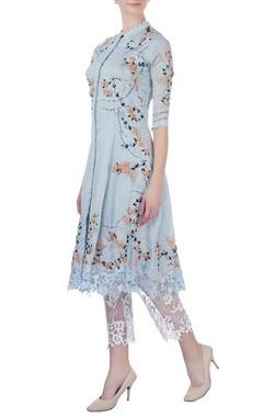 Abhishek Vermaa Sky blue rose embellished kurta with pants