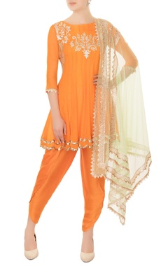 orange chiffon anarkali set