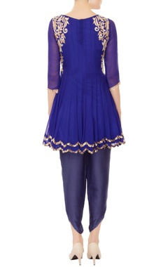 royal blue kurta with dhoti pants & dupatta