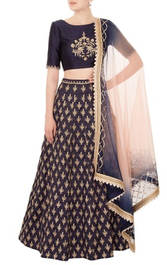 navy blue raw silk lehenga set