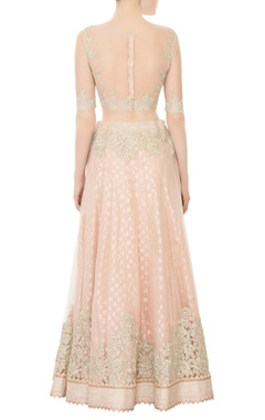 light pink net embroidered lehenga set