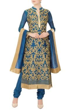 blue chanderi silk gold dori embroidery kurta with churidar & dupatta