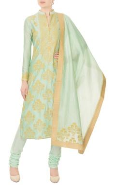 mint green chanderi silk gold kasab embroidery kurta with churidar & dupatta