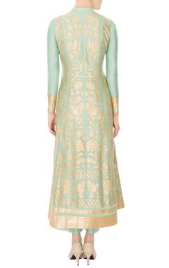 mint green chanderi silk gold embroidery anarkali kurta with pants & dupatta