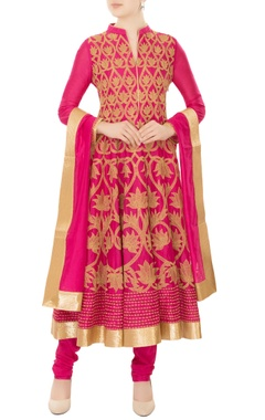 fuschia chanderi silk gold dori embroidery anarkali kurta with churidar & dupatta
