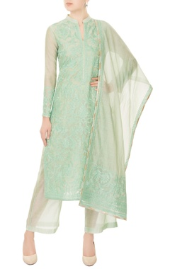 mint green chanderi silk dori embroidery kurta with pants & dupatta